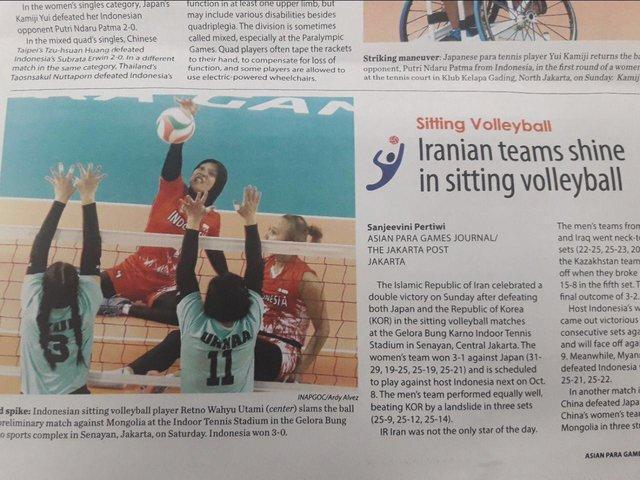 درخشش والیبال نشسته بانوان مورد توجه خبرنامه پاراآسیایی